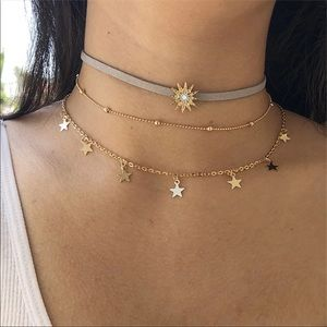 NEW! TRENDY SUN STARS MULTI LAYERS CHOKER
